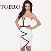 Topro Elegant Peplum Off Shoulder Vestidos De Festa Novelty Dresses White Patchwork Casual Slim Bodycon Bandage Dress HW0164