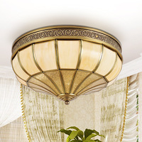 European style imitation marble lamps American study lamp warm full copper lamp bedroom ceiling lamps