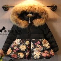 New 2014 Cute Kids Girls Cotton Inner Warm Jacket Girls Winter fur collar hooded outwear with flower print