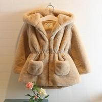 Girls Winter faux Fur coat children outerwear dress style jacket  child Fleece thickening coat&jacket