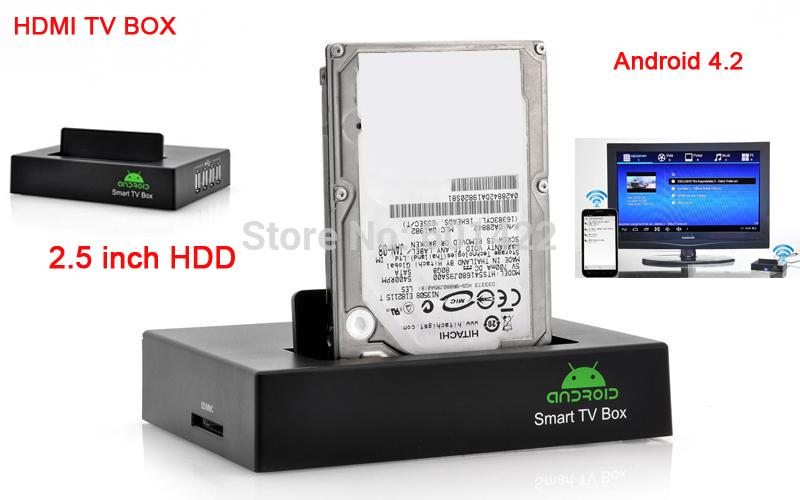 "Network 1080P Full HD Media Player HDMI TV BOX Android 4.2 OS 4x USB2.0 Support 2.5"" External SATA HDD(China (Mainland))"