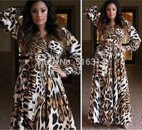 Europe Top Fashion Women's Long Sleeves Sexy V Neck Snake Printed Sheath Maxi Long Jersey Silk Drss