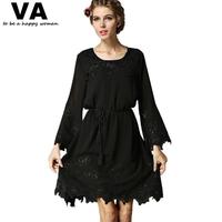 casual dress plus size Women Black long sleeve o-neck chiffon Loose Embroidery mini Dress woman 2015 spring 5xl 4xl xxxl P00082