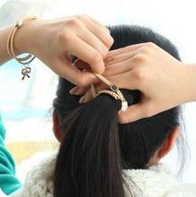 Bear Charms Bracelets Women Strong Elastic Black Rope Heart Elephant Rose Key 18K Gold Crown Hair
