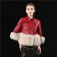 (False a compensate ten)Fur Coat New Design 4 color High-Grade Soft Fur Fox Jacket  Luxury Three Quarter Sheep Skin Coat