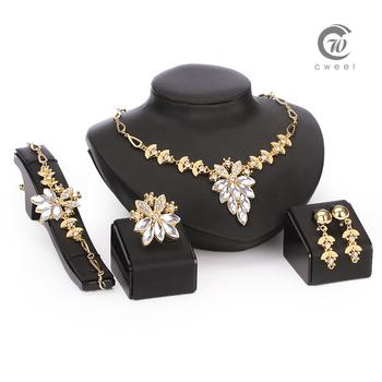Африканский бусины комплект ювелирных изделий 18 К золото заполненные белый сапфир ясно австрийский хрусталь женщины свадьба серьги браслета ожерелья кольцо