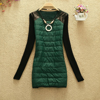 Women Autumn Winter PU Patchwork Sweater Dress New 2015 Fashion Ladies Casual Bottoming Package hip Dress Plus size S M L XL XXL