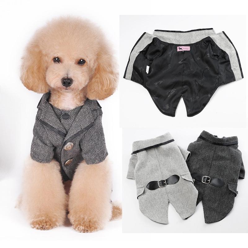 2015 puppy pet dog clothes small / tuxedo cat Dogs Woolen suit woolen tuxedo pets formal suit party clothes XS-XXL(China (Mainland))