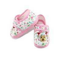 New baby's promotion winter spring cartoon flower print 100% cotton soft girl's boy's comfortable warm prewalker T single shoes