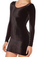 2014 women dress pure black new casual dress velvet long-sleeved dress straight dresses