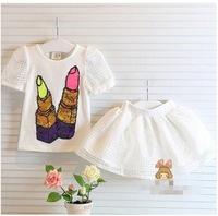 new 2014 children's clothing set  baby grils cartoon skirts sets short sleeve t-shirt+skirt grils suit retail
