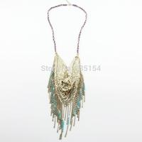 Women Gold Fan Shape Gold Sequins Necklace Bohemian Style Tassel Long Chain Necklace 5pcs/lot FREE SHIPPING
