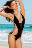 2015 New Fashion Women Deep V-Neck Sexy Black One Pieces Summer Mesh Patchwork Backless Sexy Bikini Swimwear