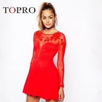 Topro Women Clothing Long Sleeve High Waist Skater Runway Tunic Prom Party Dresses 2015 Mini Desigul Mesh Pannel Casual HW0235