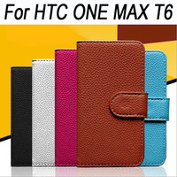 New Arriving For HTC One Max T6 8088 colors Phone case Lichi Leather Case Cover in stock with card holders