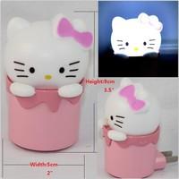 Mini Hello Kitty LED Photoreceptor NightLight Cartoon Bedside Bedroom Sleeping Passageway  Sensor Night Lights Lamp Girl's Gift