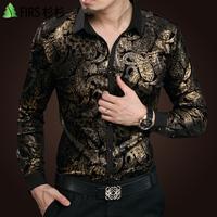 free shipping&2015 autumn gold velvet bronzier personalized print shirt men's clothing long-sleeve shirt