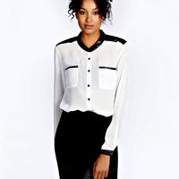 2015 new Autumn Summer Women's Chiffion and pu pathwork Shirt  Stand Collar Blouse Puff Sleeve Sexy White Chiffon Shirt nz204