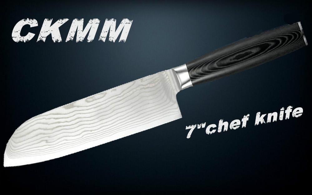 """Spedizione gratuita cersharp 7"""" santoku coltello damasco, giapponese vg10 in acciaio damasco coltello da cucina, 73 strati acciaio giapponese miglior regalo"""