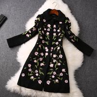 2014 High quality Fashion 3D flower embroidery woolen coat long coat winter coat women