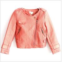 2015  New Spring  Children  Girls kids Faux Leather Jacket girls coat children's outwear kids motorcycle jacket