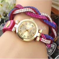 10pcs lot Braided Bracelet Watch women Rhinestone Strip PU leather Wrap  NEW Fashion casual dress wristwatch wholesale