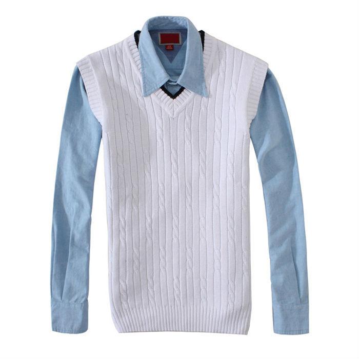 White Sweater Men Men's Sweater Vest Cotton