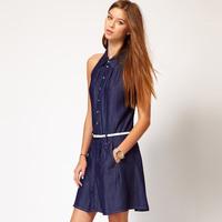 Denim denim dark blue denim sleeveless cotton dress lapel belt