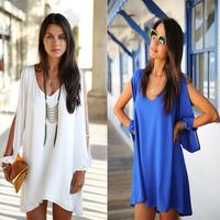 Autumn new Women v-neck chiffon loose A-line mini Dress plus size  fashion women's clothing Casual 6688