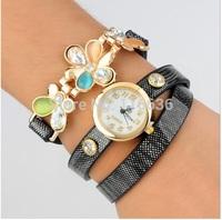 10pcs lot Charm Flower Rhinestone Strip PU leather Wrap Bracelet Watch women NEW Fashion wristwatch wholesale