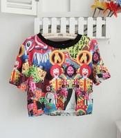 Women&Lady sexy Print EMOJI crop top/Print harajuku cropped T shirt/female Shirts