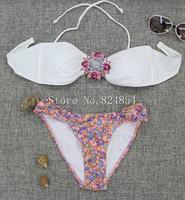 European and American big metal crystal flower decoration sexy swimsuit bikini beach casual dress