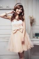 custom made Korean short paragraph bridesmaid dress a-line sleeveless knee-length organza evening dress