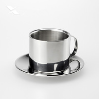With Continental double stainless steel coffee mug /.coffee sets of cups fashion with coaster