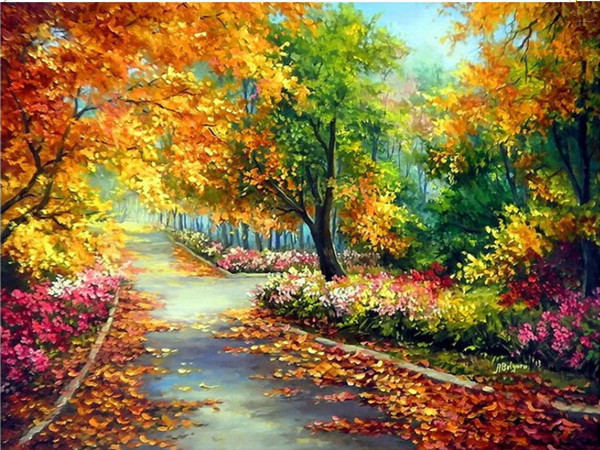 2015 New Rushed Diy Mosaic inlay 3d Painting Full Whole Square Drill Art Diamond Embroidery Cross Stitch Leaf Road Scenery(China (Mainland))