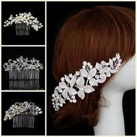 Elegant Flower Crystal Rhinestones Faux Pearls Women Diamante Prom Party Bridal Wedding Hair Clip Comb