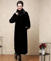 2015 Luxury faux fur mink cashmere women's coat new fashion women coat gorgeous upscale fur coat with natural fur coat long E047