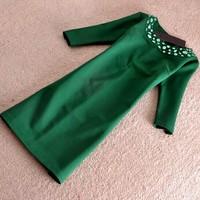Women Autumn winter Dress 2015 Fashion brand Vintage Elegant Office Lady Green Black Elegant Dresses casual Dress SY2709