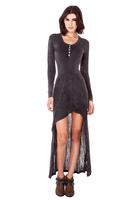 Retro do the old Slim asymmetrical draped dress Long sleeve stitching knit dress
