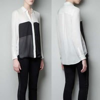 Casual Black white color block patchwork double pocket turn-down collar long-sleeve shirt Blouse XS-2XL