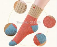 Brand Autumn and winter thick socks thick line high cuffs spell color socks rabbit wool socks short socks warm
