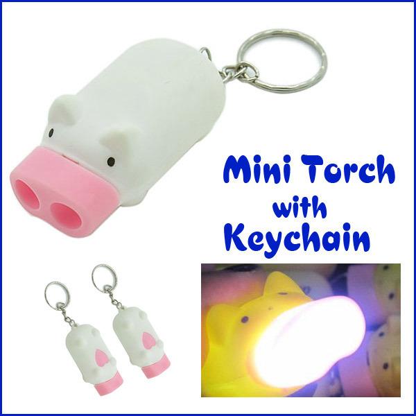 Manual Electricity Generation Portable cheap Mini Pig Torch Flashlight Key Chain Cute Pig 2 LED Keychain Light Keyring 10pcs/lot(China (Mainland))