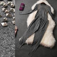 2015 Spring European High Street Set Women's Long Sleeves Grey Stylish Rivet Knitted Pullover + Elastic Waist Long Pants Twinset