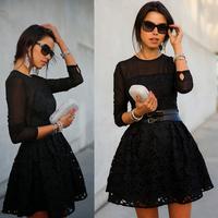 vestidos 2014 new fashion black lace cute dress black sexy women dress vestidos evening casual party dresses