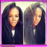 Italian Yaki African American Wig Brazilian Virgin Human Hair Kinky Straight Lace Front Wigs Bleached knots For Black Women