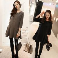 New woman's Casual Winter Mini Straight Solid Dress Fat Lady Pregnancy Vestidos de fiesta Black Gray S-L SJY737
