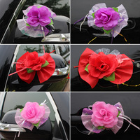 Hot Sell Car Door Decorative Flowers Handmade, 10 pcs/lot  Artificial Flowers for Car Decoration, Wedding Flower Decoration