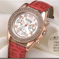 Upscale Ladies Watch Six-pointer PU Strap Casual Watches Students Simple Fashion Quartz Wristwatch