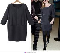 New 2015 Winter Velvet Office Dress Fashion Casual Slim Long Sleeve Dresses Vestidos Femininos Women Clothing
