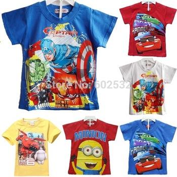 2015 самое новое прибытие лето мультфильм большой герой 6 Baymax печать мальчики 100% хлопок свободного покроя футболки 5 конструкций розничная топы для детей CX
